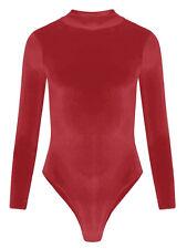 Womens Velvet Velour Long Sleeve Turtle Polo Leotard Bodysuit
