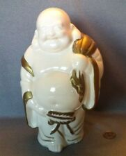 "Vintage Large Chinese Porcelain ""Happy Laughing Buddha "" White And Golden 9.75"""