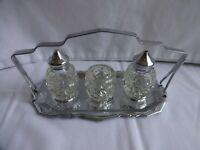 Vintage Cruet Set Glass & Stainless Steel Salt Pepper Mustard Height 9cm x 18cm