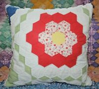 Vintage Grandmother's Flower Garden Farmhouse Feedsack Quilt Throw Pillow #3