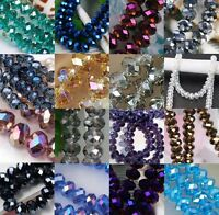 2mm/3mm/4mm/6mm/8mm/10mm/12mm Faceted Crystal Loose Beads Rondelle Spacer Charm