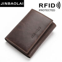 RFID Blocking Men Genuine Leather Wallet Trifold Short Clutch Credit Card Holder