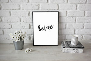 Relax Poster Wall Artwork Yoga Relax Peaceful Meditation Inspirational Positive