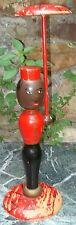 -Pittoresque Présentoir 1950 Porte-Chapeau Bois Polychrome Groom Black