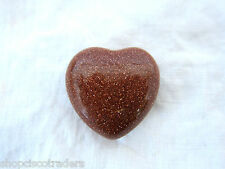 Small Goldstone Puff Heart 30mm Healing Crystal Protection Deflect Negativity