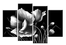 LARGE GREY BLACK AND WHITE FLORAL FLOWER CANVAS WALL ART PICTURE SPLIT MULTI 40""