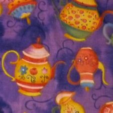 Purple Marble 100% Cotton Fabric with Colourful Teapots Milk Jugs (Per Metre)