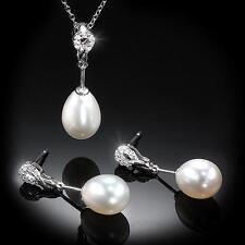 New 14K Diamond  & Pearl Infinite Elegance Pendant & Earring Set WG