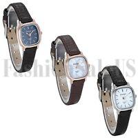 Womens Luxury Ultrathin Square Dial Leather Band Analog Quartz Sport Wrist Watch