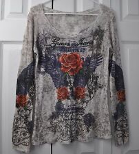 Guess Long Sleeve Sheer Top Blouse Wings and Roses Crystal Rhinestones size L