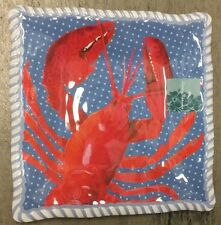 New listing Tommy Bahama Lobster Melamine Side Plates Nautical Red White Blue Set Of 4