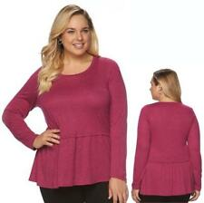 Plus Size 2X Apt. 9 Shredded Knit Drop Waist Shirt Peplum Top Long Sleeve NWT
