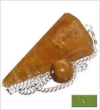 Golden Quartz Point Crystal Dowsing Pendulum Focus Clarity Relieves Anxiety