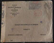 1942 Bruxelles Belgium Censored Cover To Industrial Bank Prague Czechoslovakia