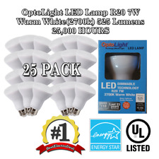 25x OptoLight LED Lamp R20 7W Warm White(2700k) 525 Lumens 25,000 HOURS