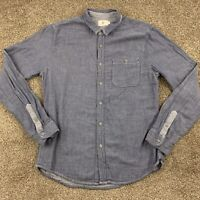 Adriano Goldschmied AG Men's Designer Chambray Button Up Shirt Large L Blue Gray