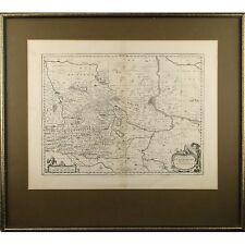 Fine Framed Antique Map Braunschweig Magdeburg Germany Johannes Jansson