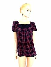 MARC BY MARC JACOBS SIGNATURE SILK PLEATED SHORT SLEEVE BLOUSE SIZE L