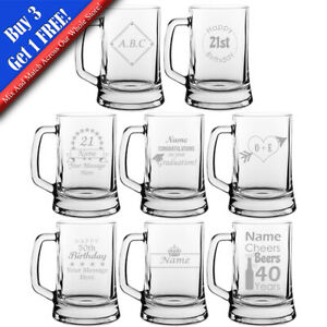 Personalised Engraved Novelty Beer Mug, Different Designs  Any Occasion