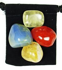 FINDING OPTIMISM Tumbled Crystal Healing Set = 4 Stones +Pouch +Description Card