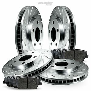 Full Kit Drilled Slotted Brake Rotors and Pads For 2011-2014 Volkswagen Jetta