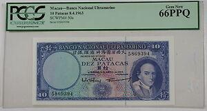 1963 Macau Banco Nacional 10 Patacas Note SCWPM# 50a PCGS 66 PPQ Gem New