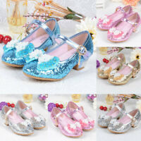 Kids Girls Princess Cosplay Dress Up Sandals Pearl Crystal Bling Bowknot Shoes A