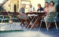 UH07 ORIGINAL KODACHROME 1960s 35MM SLIDE PORTLAND PATIO DINNER FRIENDS