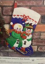 Christmas Stocking Kit Felt Storybook Hobby Kraft 9208 Vintage Sequin Snowman