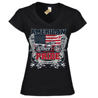 American Pride T-Shirt bike motorcycle usa Womens Ladies V-Neck