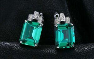 14k White Gold Finish 3.50Ct Emerald Cut Green emerald Diamond Clip-On Earrings