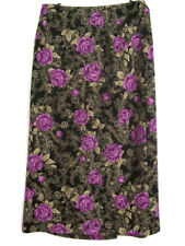 Briggs New York Womens Maxi Skirt Purple Rose Floral Career Formal Size 16