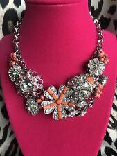 Betsey Johnson Coral Orange Glam Crystal Flower SUPER SPARKLY $165 Necklace