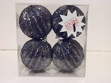 4 Blue Silver Glitter 4 Inch Shatter Resistant Christmas Ornament Decoration