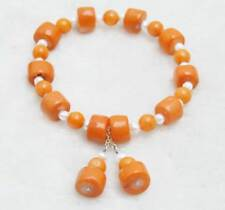 Sale 10-11mm Thick Slice Natural Pink Coral and white pearl 7.5'' Bracelet -b425