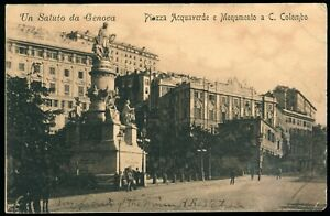 Piazza Acquaverde Vintage Genova Italy Postcard Posted 1909 Italy to USA