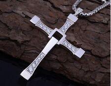 Men's Cross Rhinestone Pendant Necklace Stainless Steel Necklace Zirconia