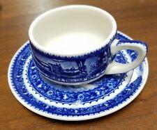LAMBERTON china Baltimore Ohio railroad flow blue demitasse cup and saucer