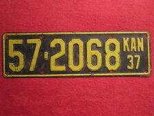 LICENSE PLATE Car Tag 1937 KANSAS 57-2068 Kingman County [Z227]
