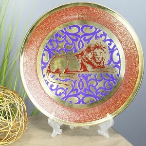 Natural Geo Lion Relaxing Decorative Brass Accent Plate
