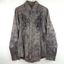 Mens Helix Small Textured Cross & Wings Button Down Dress Shirt Gray Brown Black
