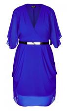 City Chic Ultra Blue Womens US Size XS V-neck Chiffon Shift Dress 256