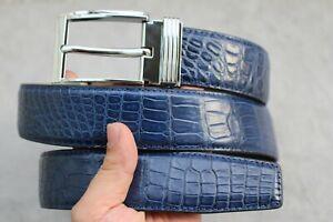 "W 1.5"" Blue Genuine Aligator ,CROCODILE Belly Leather Skin MEN'S Belt"