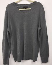 NEW Mens Merino Wool Grey Sweater XL Simulated Leather Elbow Patches NWT