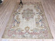 Turkish Oushak Handmade Carpet Floral Design Wool Muted Medallion Area Rug 6'x9'