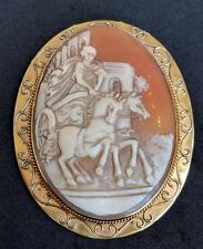 Large Antique Victorian Shell Cameo 9ct Gold Brooch Pin Goddess Artemis