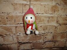 Bird Christmas Tree Ornament Holiday Decoration White Pink & Green Hat Glitter