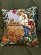 Gorgeous Hand Stitched Wool Needlepoint Pillow ~ FALL HARVEST THANKSGIVING