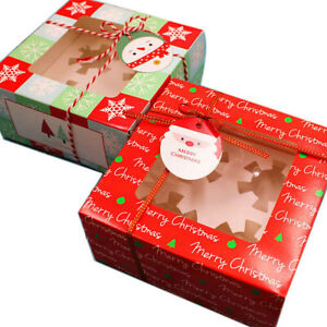 5pcs Christmas Cupcake Box Muffin Clear Window Cup Cake Packaging Gift Container