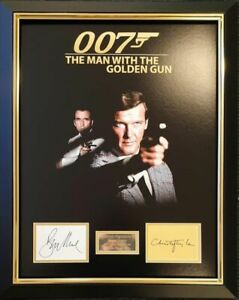 ROGER MOORE CHRISTOPHER LEE OO7 MAN WITH THE GOLDEN GUN SIGNED MONTAGE AFTAL